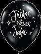 "Frohes neues Jahr Silvester schwarz 27,5cm 11"" Latex Luftballons Qualatex"