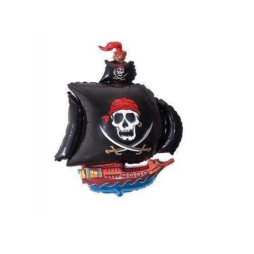 schwarzes Piratenschiff Folienballon