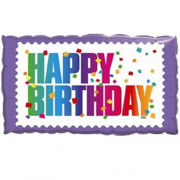 Happy Birthday Schild mit Konfetti Folienballon - 60cm