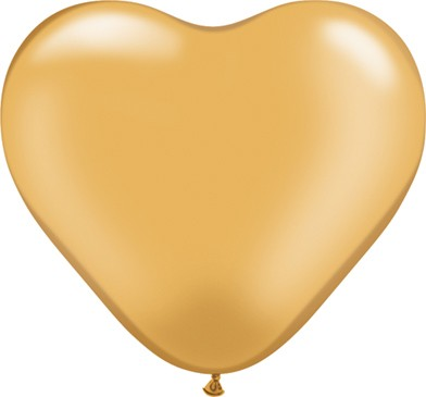 BallonHerz klein Gold (Metallic gold) Latexluftballons - 15cm