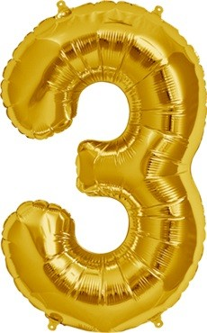 North Star Folienballon Zahl 3 (gold) - 86cm