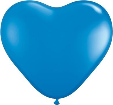 "Qualatex Herz Standard Dark Blue (Blau) 15cm 6"" Latex Luftballons"
