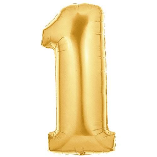 Große Folienballon Zahl 1 (gold)