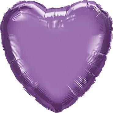 Folienballon Herz Chrome Purple (lila) - 45 cm