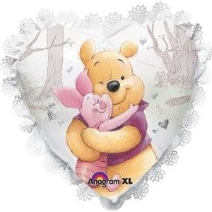 Winnie Pooh und Ferkelchen Herz Folienballon - 45cm