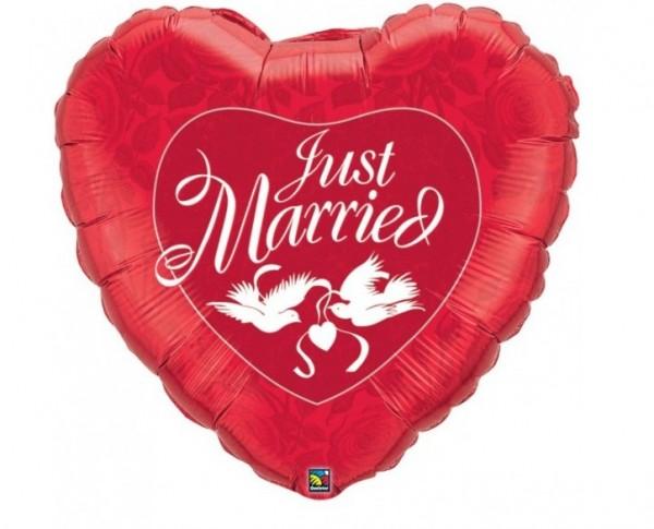 Just married Herz mit Tauben rot - Hochzeit 90 cm