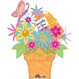 Love Blume im Topf- 'Für Dich' Folienballon