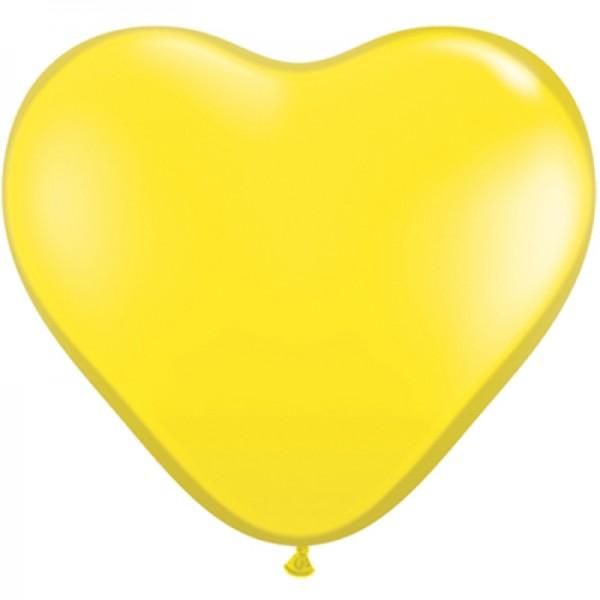 "Qualatex Herz Yellow (Gelb) 15cm 6"" Latex Luftballons"