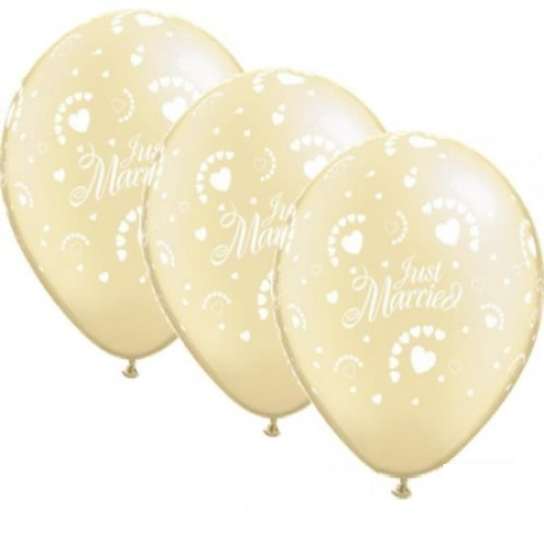 "Just married Elfenbein 27,5cm 11"" Latex Luftballons Qualatex"