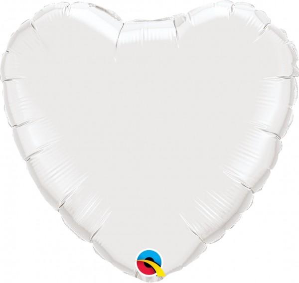 Folienballon Herz Weiß - 45cm