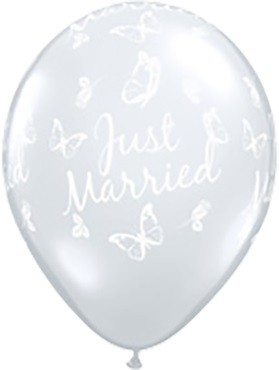 Latex Luftballons Just Married Roses and Butterflies 27,5cm