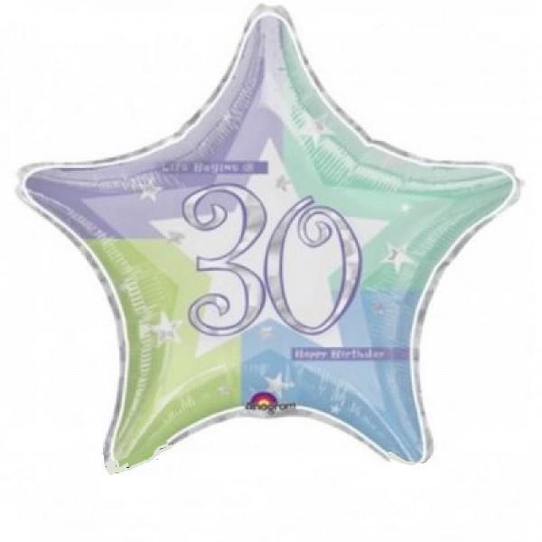 Happy Birthday 30 Stern Folienballon - 48cm