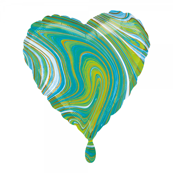 Herz marmoriert Marblez Blue Green Folienballon - 43cm 17''