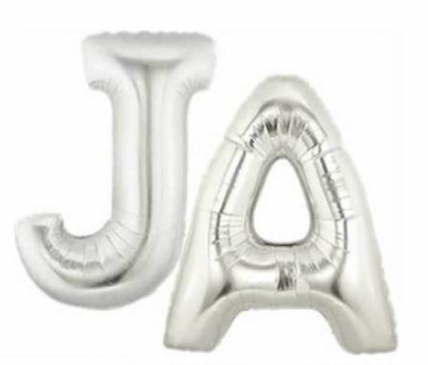 Buchstaben *JA* silber Folienballon