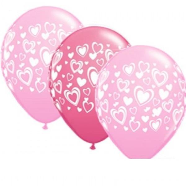5 Pink & Rose Doppelherzen Latex Ballons - 27,5cm
