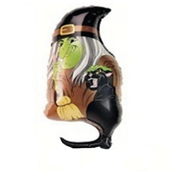 Hexe mit schwarzer Katze Folienballon - 86cm
