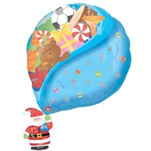 Weihnachtsmann mit Geschenken Folienballon - 76cm