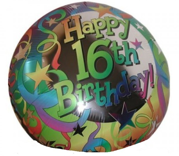 16.Geburtstag Happy Birthday Luftballon - 45cm