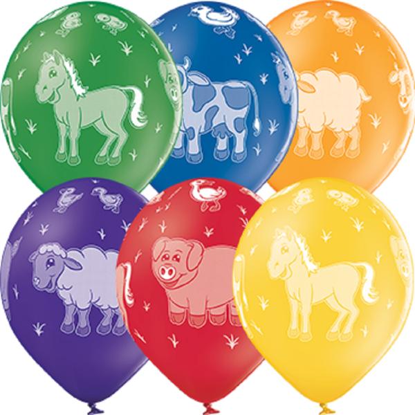 "Farm Animals Pferd Kuh Schaf Schwein Pastel Sortiment 30cm 12"" Latex Luftballons Belbal"