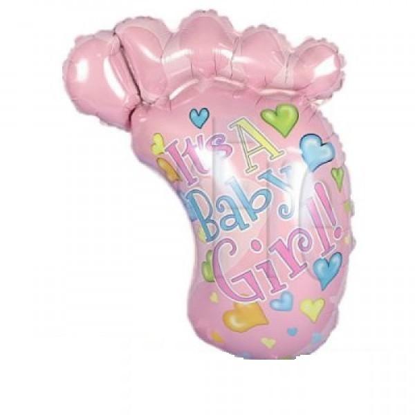 Babyfuss rosa Folienballon - 70cm