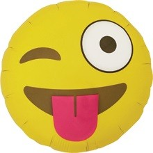 Smiley Face gelb Emoji Winking Folienballon - 45cm