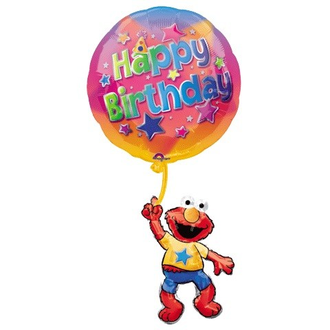 Elmo mit Happy Birthday Ballon - 99cm