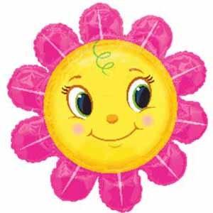 Smiley Gesicht Blume Folienballon - 75cm