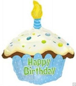 Blue Cupcake/ hellblauer Kuchen Folienballon Happy Birthday - 45cm