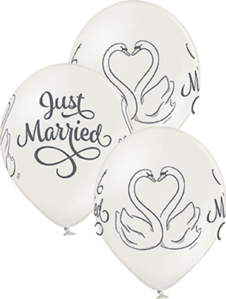 "Just Married Swans Schwäne Metallic Pearl 30cm 12"" Latex Luftballons Belbal"