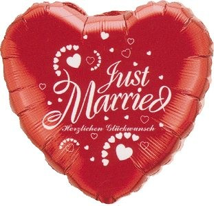 Just married Herz mit Schriftzug ' Herzlichen Glückwunsch ' Folienballon 45cm