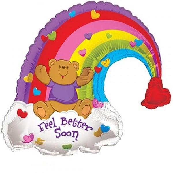Bär mit Regenbogen Folienballon - 91cm