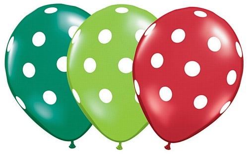 "Big Polka Dots Grün und Rot 27,5 cm 11"" Latex Luftballons Qualatex"