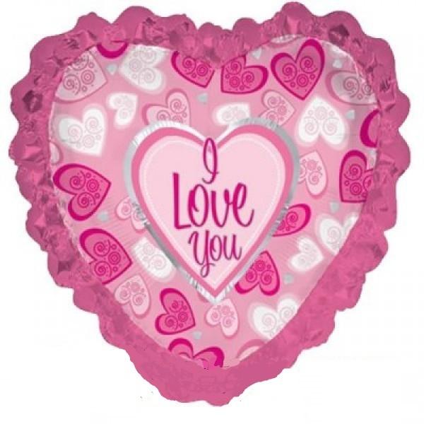 Herz Pink I Love you Folienballon - 90cm