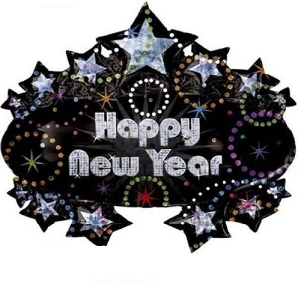 Happy New Year Black Star Folienballon - 83cm