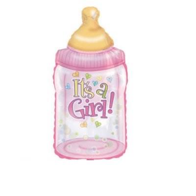 Mini Folienballon Babyflasche It`s a girl - 35cm